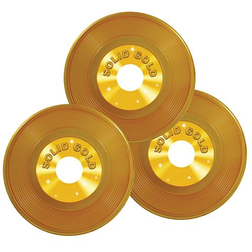 Gold Plastic Records - 22.9cm - Pack of 3