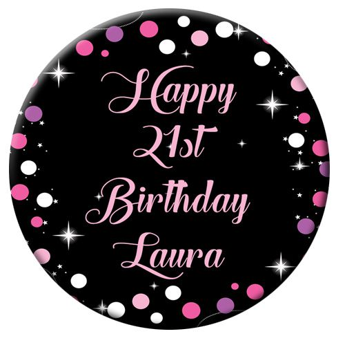 Personalised Badge 58mm- Birthday Sparkle Pink