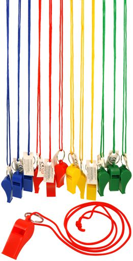 Plastic Whistle - Assorted Colours - Each