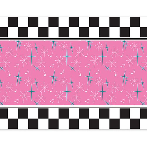 50's Themed Paper Table Runner - 120cm x 30cm