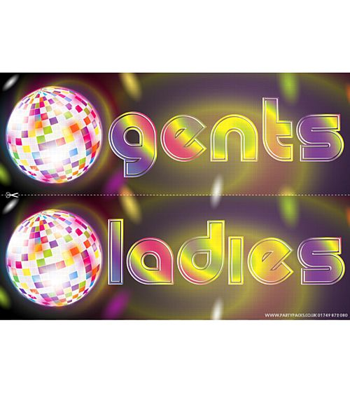 Disco Party Toilet Signs - Ladies & Gents
