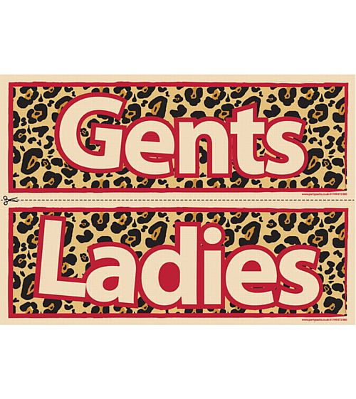 Cheetah Themed Toilet Signs - Ladies & Gents