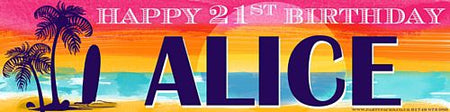 Tropical Sunset Personalised Banner - 1.2m
