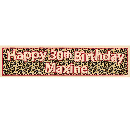 Leopard Print Themed Personalised Banner - 1.2m