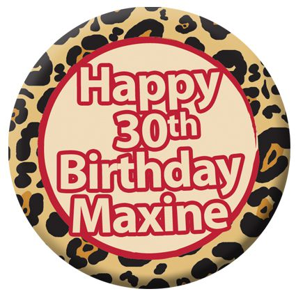 Personalised Leopard Print Themed Badge - 58mm - Each