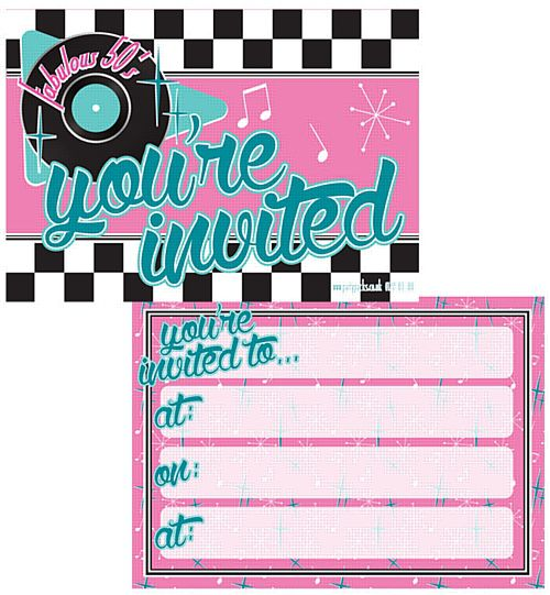 50's Themed Invites & Envelopes - Pack of 8