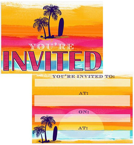 Tropical Sunset Invites - Pack of 8