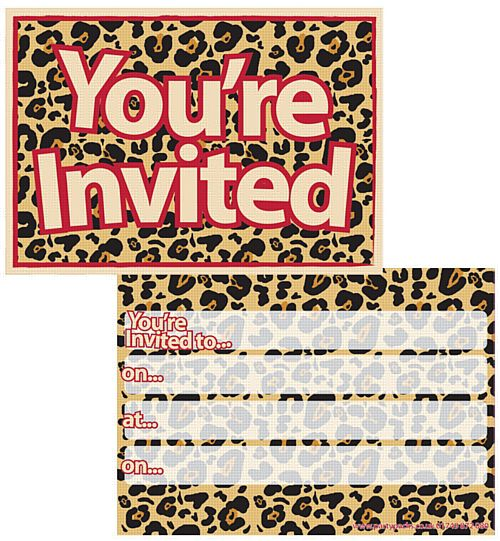 Cheetah Themed Invites - Pack of 8