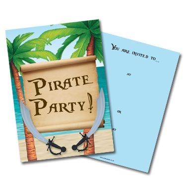 Pirate Invites- Pack of 8