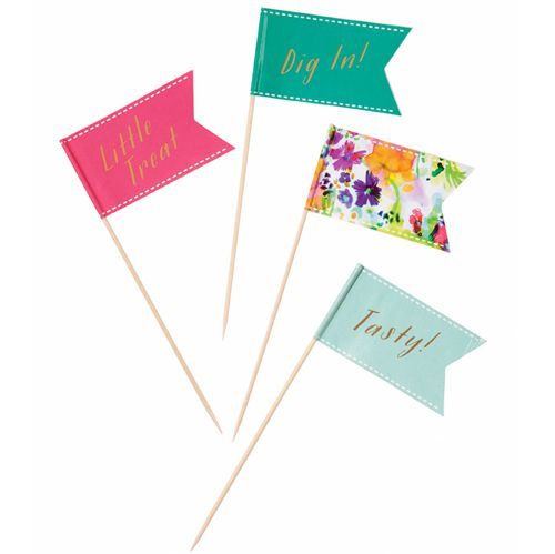 Floral Fiesta Canape Flags - Pack of 24