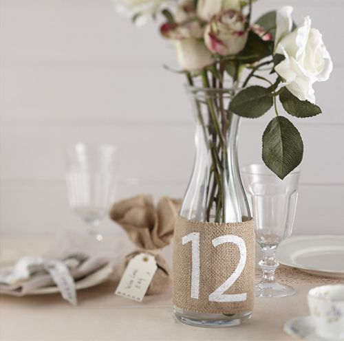 Vintage Affair Hessian Table Numbers - 23cm - Pack of 12