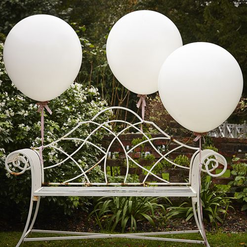 "Vintage Affair Giant White Latex Balloons - 36"" - Pack of 3"