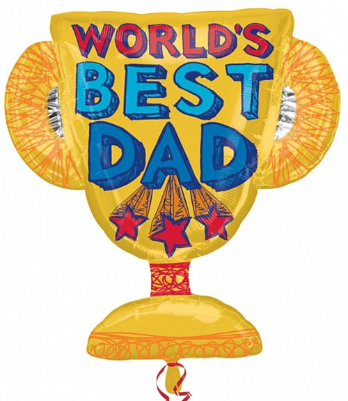 Best Dad Trophy Supershape Foil Balloon - 68.6cm