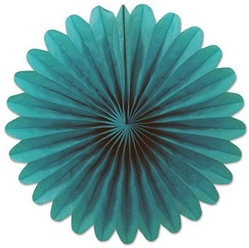 Turquoise Mini Tissue Fans - Pack of 6 - 15cm