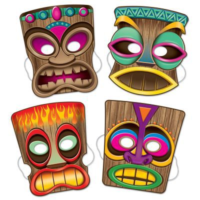 Click to view product details and reviews for Tiki Masks Pack Of 4 25cm.