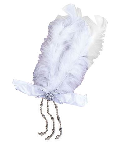 Flapper Headband With White Feathers
