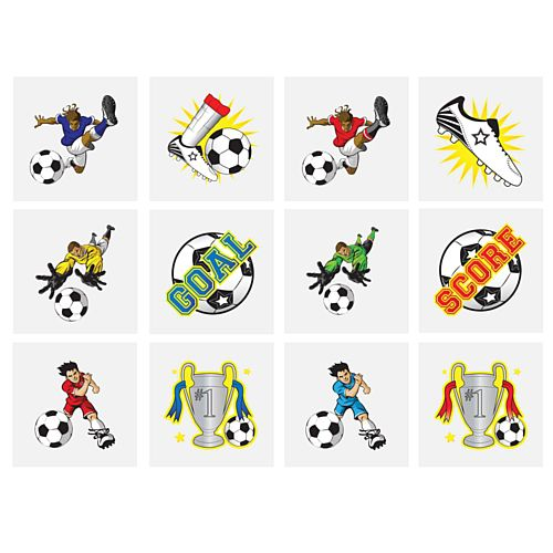 Mini Football Tattoos - Assorted Designs - 4cm - Pack of 12