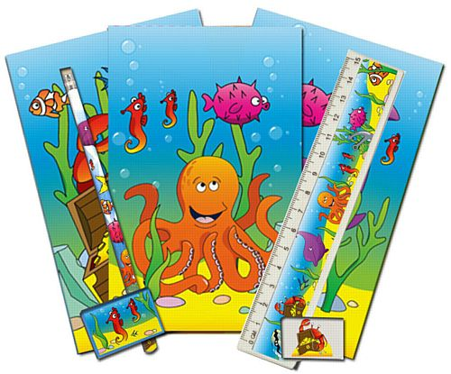 Sealife Themed Stationary Set - 5 Pieces