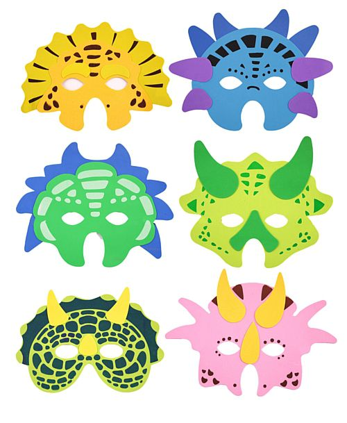 Assorted Dinosaur Foam Masks - Each