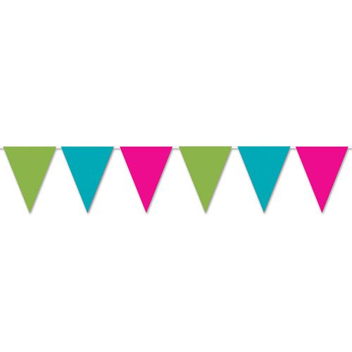 Blue, Pink & Green 'All Weather' Bunting - 3.6m (12 flags)