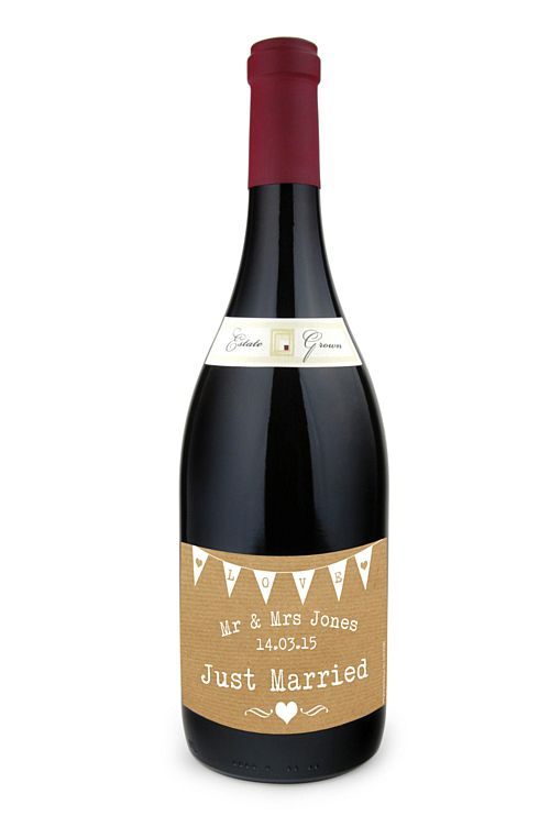 Personalised Wine Bottle Labels- Brown Paper Effect- Pack Of 4
