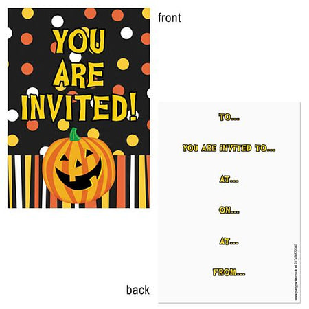Halloween Pumpkin Invites - Pack of 8