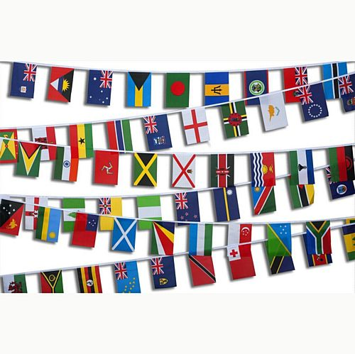 Commonwealth Nations Cloth Flag Bunting - 70 flags - 20m