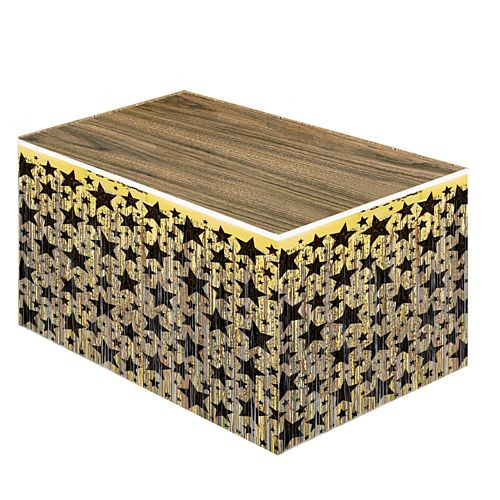 Metallic Table Skirting - Gold with Black Stars - 76cm x 4.3m