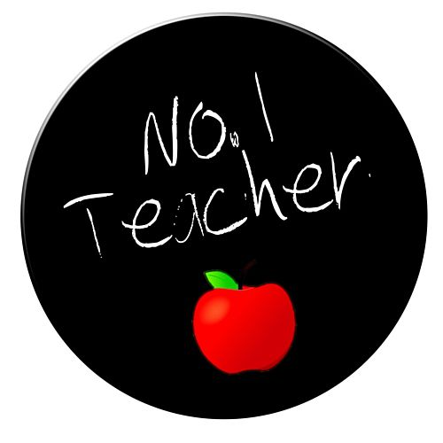 No. 1 Teacher Badge 58mm (Pinned Back) - Each