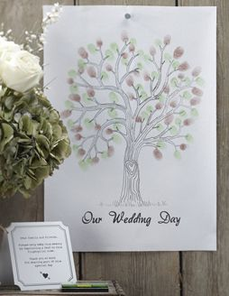 Vintage Affair Finger Print Tree - Green Ink - 42cm