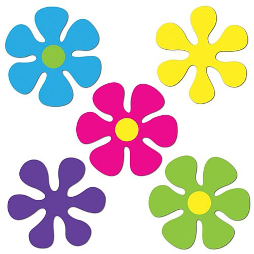 Mini Retro Flower Cutouts - 11.4cm - Pack of 10