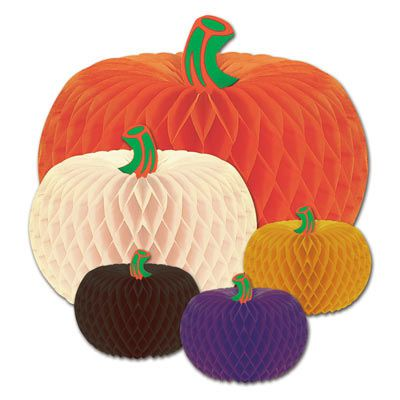 Designer Tissue Pumpkins Assorted Colours & Sizes - 25.4cm - Pack of 5
