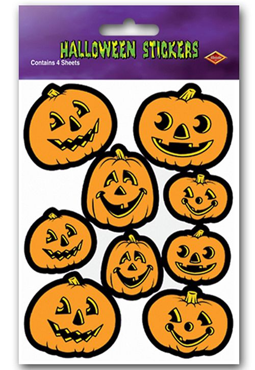 Jack-O-Lantern Stickers - 19cm - 36 Stickers