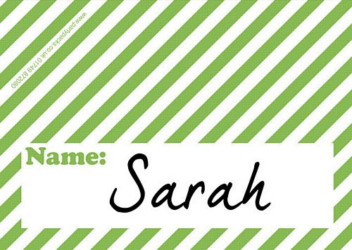 Stripe Green Placecards - Pack of 8