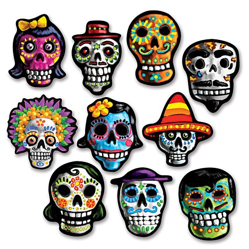 Mini Day of the Dead Cutouts - Assorted Designs - 12.1cm - Pack of 10