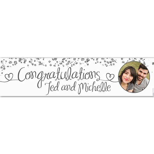 Congratulations Glitter Personalised Photo Banner - 1.2m