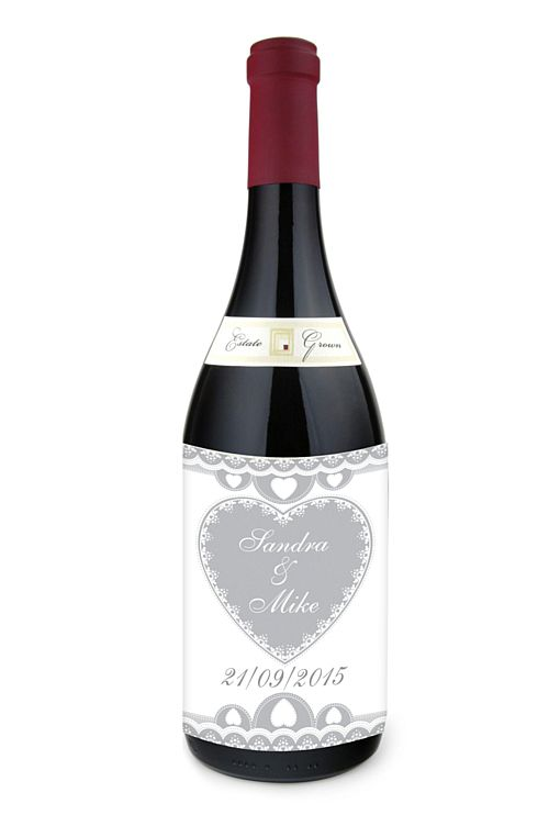 Personalised Wine Bottle Labels - Hearts Theme -  Sheet of 4