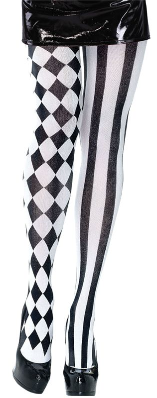 Black and White Harlequin Tights