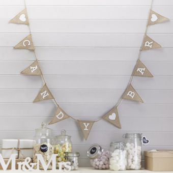 Vintage Affair Candy Bar Hessian Burlap Bunting - 1.5m
