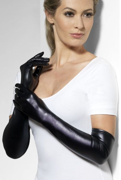 Long Black Wet Look Gloves