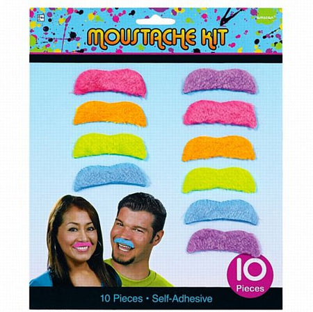 Totally 80s Moustaches - Pack of 10