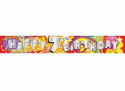 Happy 7th Birthday Holographic Foil Banner - 2.74m
