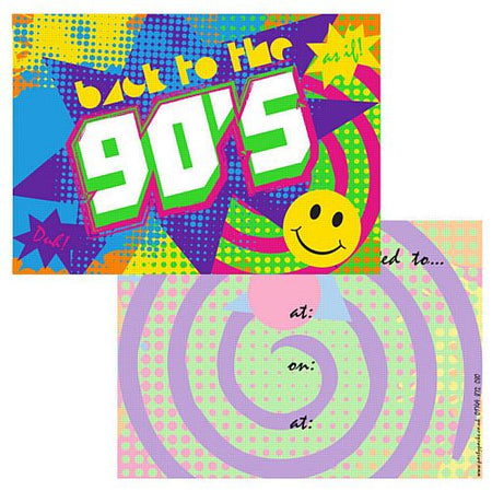 90's Themed Invites - Pack of 8