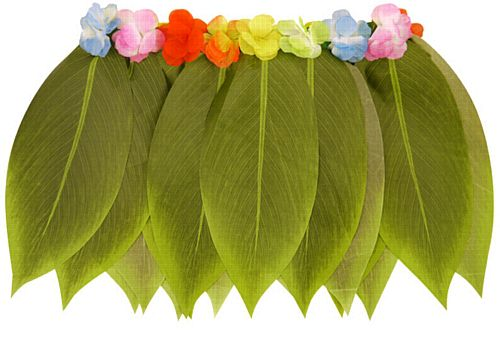 Hula Leaf Skirt With Flowers