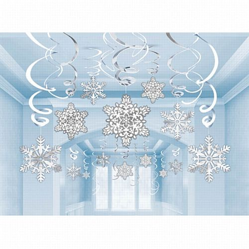 Snowflakes Paper & Foil Swirls Decorations - Pack of 30
