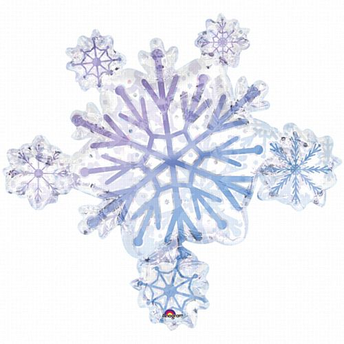 Snowflake Cluster Supershape Prismatic Foil Balloon - 32""