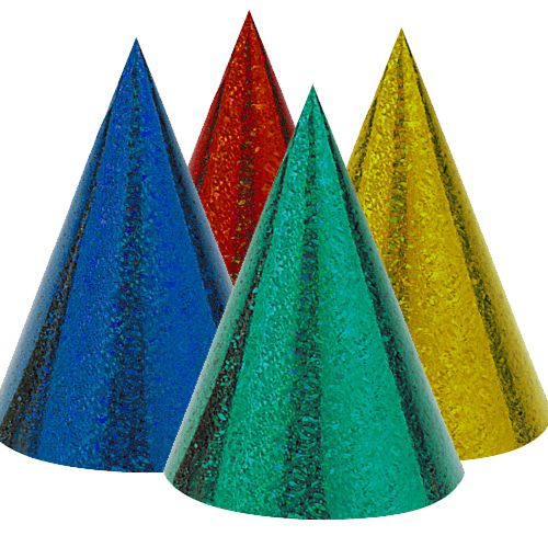 Prismatic Party Cone Hats- Assorted - Pack of 8