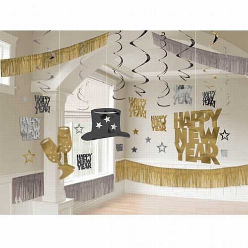 Black, Silver & Gold Giant New Year Room Decorating Kit - 2.74m