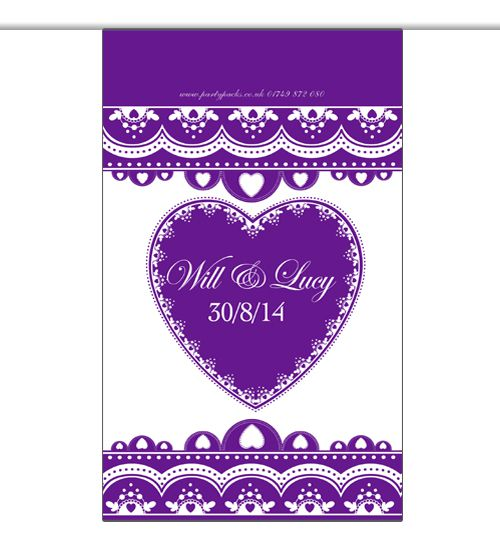 10m Personalised 'Hearts' Interior Bunting- Purple