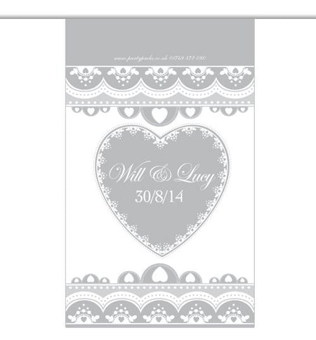 10m Personalised 'Hearts' Interior Bunting- Silver
